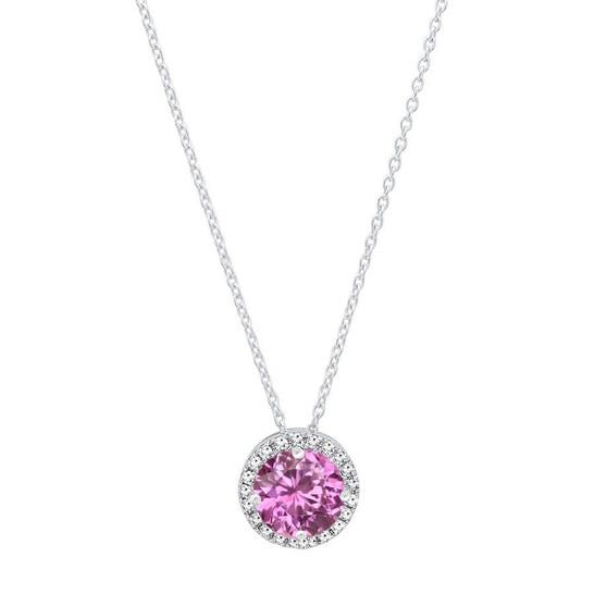Dazzling Rock Dazzlingrock Collection 14K 5.5 MM Round Lab Created Pink Sapphire & White Diamond Ladies Halo Pendant, White Gold | Joma Shop