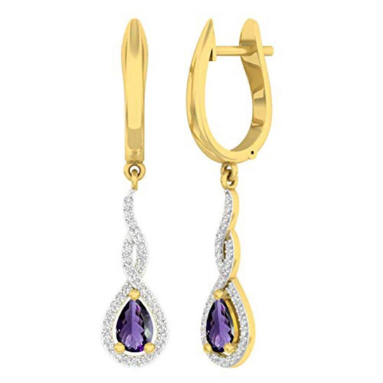 Dazzling Rock Dazzlingrock Collection 14K 6X4 MM Each Pear Amethyst & Round Diamond Ladies Infinity Dangling Earrings, Yellow Gold   Joma Shop