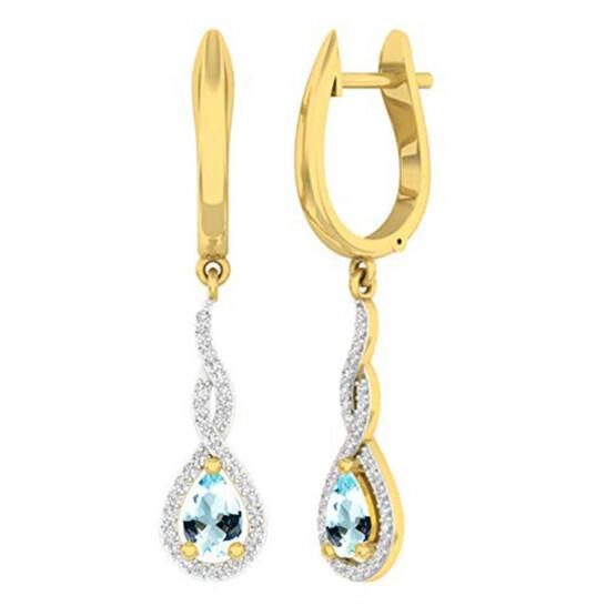 Dazzling Rock Dazzlingrock Collection 14K 6X4 MM Each Pear Aquamarine & Round Diamond Ladies Infinity Dangling Earrings, Yellow Gold | Joma Shop