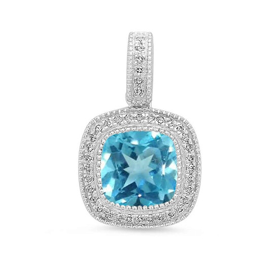 Dazzling Rock Dazzlingrock Collection 14K 7 MM Blue Topaz & White Diamond Ladies Halo Style Pendant (Silver Chain Included), White Gold | Joma Shop