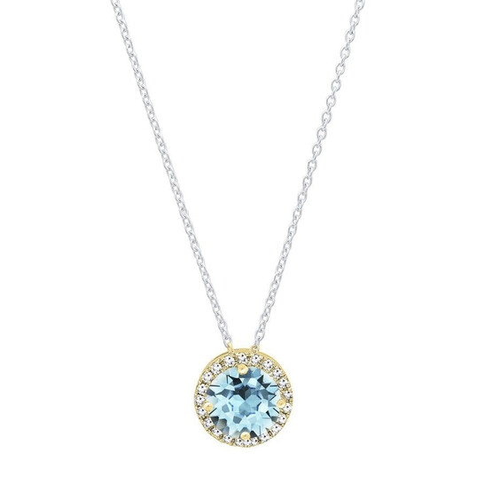 Dazzling Rock Dazzlingrock Collection 14K 7 MM Round Aquamarine & White Diamond Ladies Halo Pendant (Silver Chain Included), Yellow Gold   Joma Shop