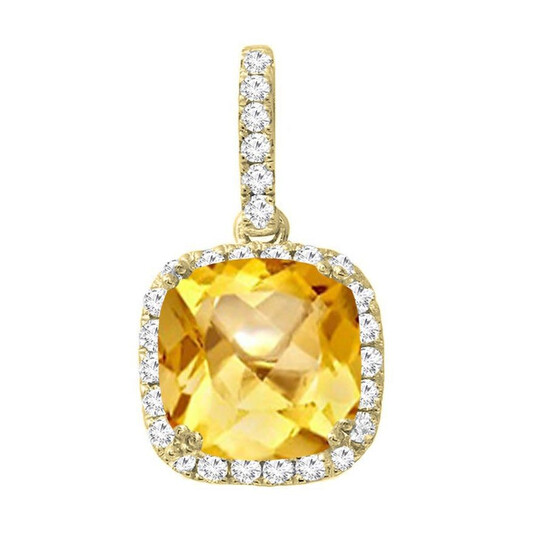 Dazzling Rock Dazzlingrock Collection 14K 8 MM Cushion Citrine & Round Diamond Ladies Halo Pendant (Silver Chain Included), Yellow Gold | Joma Shop