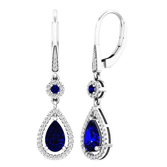 Dazzling Rock Dazzlingrock Collection 14K 8X5 MM Each Round & Pear Blue Sapphire & Round Diamond Ladies Dangling Earrings, White Gold | Joma Shop