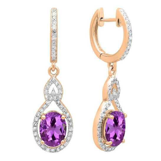Dazzling Rock Dazzlingrock Collection 14K 8X6 MM Each Oval Amethyst & Round White Diamond Ladies Dangling Drop Earrings, Rose Gold | Joma Shop