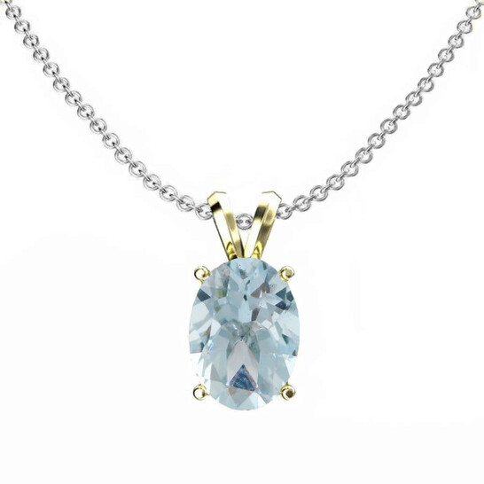 Dazzling Rock Dazzlingrock Collection 14K 8x6 mm Oval Cut Aquamarine Ladies Solitaire Pendant (Silver Chain Included), Yellow Gold | Joma Shop