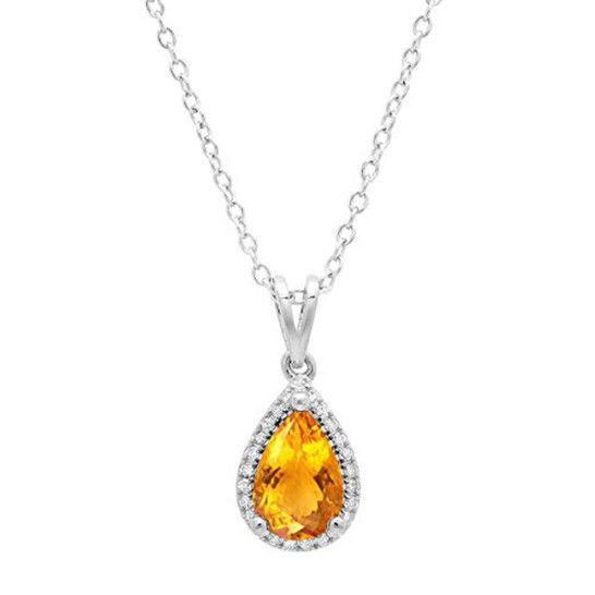 Dazzling Rock Dazzlingrock Collection 14K 9X6 MM Pear Citrine & Round Diamond Ladies Pendant (Gold Chain Included), White Gold | Joma Shop