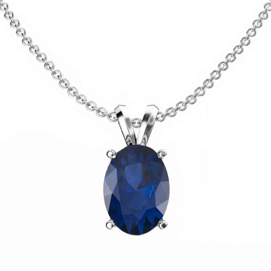 Dazzling Rock Dazzlingrock Collection 14K 9x7 mm Oval Cut Blue Sapphire Ladies Solitaire Pendant (Silver Chain Included), White Gold | Joma Shop