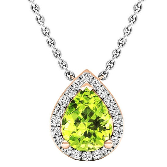 Dazzling Rock Dazzlingrock Collection 14K 9X7 MM Pear Peridot & Round White Diamond Ladies Pendant (Silver Chain Included), Rose Gold   Joma Shop