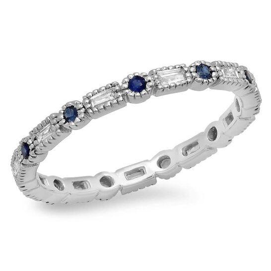 Dazzling Rock Dazzlingrock Collection 14K Blue Sapphire & White Diamond Ladies Vintage Wedding Eternity Stackable Ring, White Gold, Size 7   Joma Shop