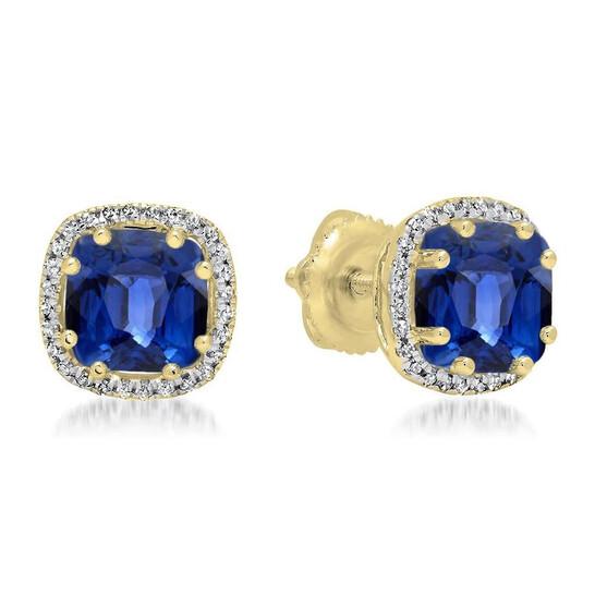 Dazzling Rock Dazzlingrock Collection 14K Cushion Cut Blue Sapphire & Round Cut White Diamond Ladies Halo Style Stud Earrings, Yellow Gold   Joma Shop