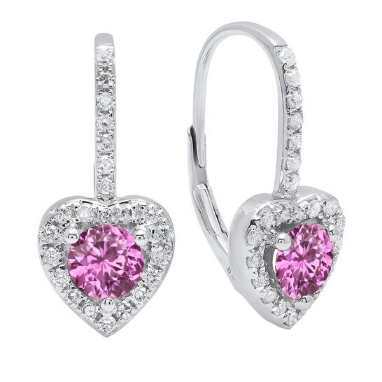 Dazzling Rock Dazzlingrock Collection 14K Each 5 MM Round Lab Created Pink Sapphire & White Diamond Ladies Drop Earrings, White Gold   Joma Shop