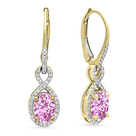 Dazzling Rock Dazzlingrock Collection 14K Oval Pink Sapphire & Round White Diamond Ladies Infinity Dangling Earrings, Yellow Gold | Joma Shop