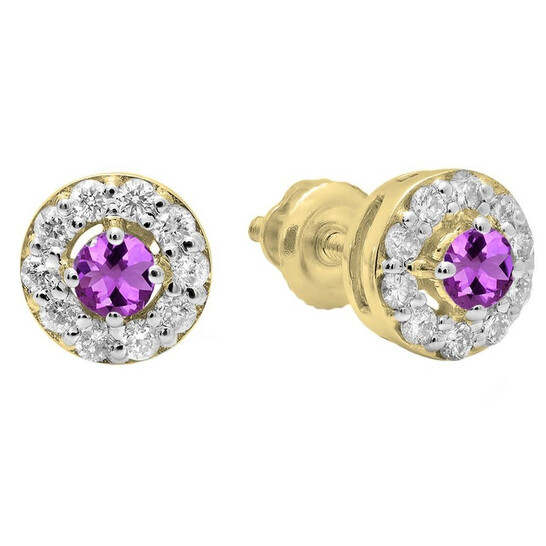 Dazzling Rock Dazzlingrock Collection 14K Round Amethyst & White Diamond Ladies Cluster Stud Earrings, Yellow Gold   Joma Shop