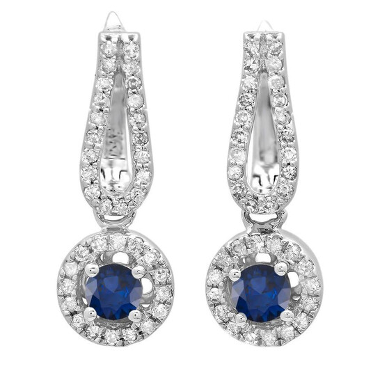 Dazzling Rock Dazzlingrock Collection 14K Round Blue Sapphire & White Diamond Ladies Halo Style Dangling Drop Earrings, White Gold | Joma Shop
