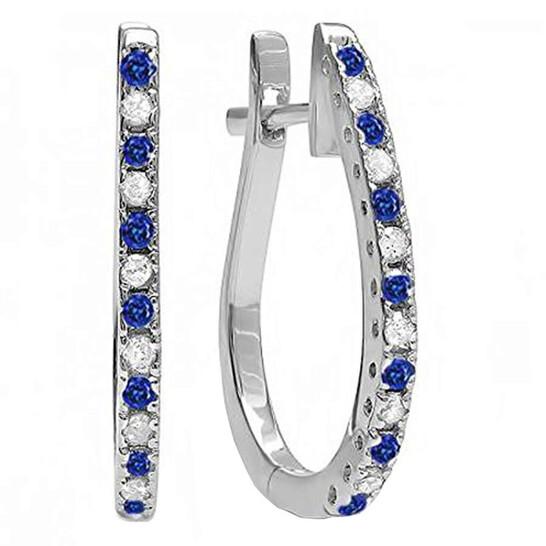 0.33 CT 10k White Gold Blue Sapphire /& White Diamond Ladies Huggie Hoop Earrings