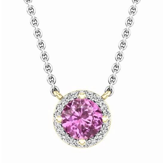 Dazzling Rock Dazzlingrock Collection 14K Round Pink Sapphire And White Diamond Ladies Halo Pendant (Silver Chain Included), Yellow Gold | Joma Shop