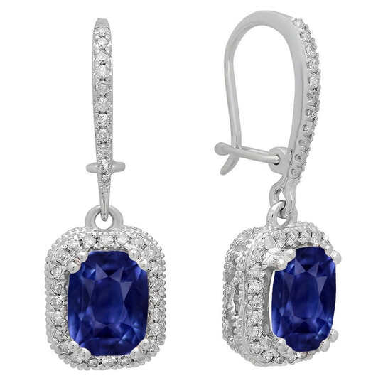 Dazzling Rock Dazzlingrock Collection 18K 8X6 MM Each Cushion Lab Created Blue Sapphire & Round Diamond Ladies Drop Earrings, White Gold | Joma Shop