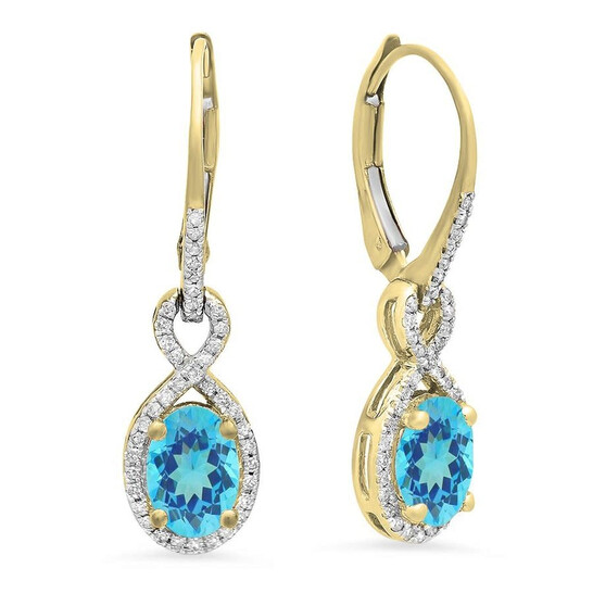 Dazzling Rock Dazzlingrock Collection 18K Oval Blue Topaz & Round White Diamond Ladies Infinity Dangling Earrings, Yellow Gold   Joma Shop