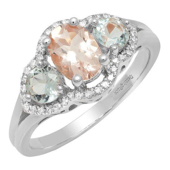 Dazzling Rock Dazzlingrock Collection 18K Oval Morganite, Round Aquamarine & Diamond 3 Stone Engagement Ring, White Gold, Size 9   Joma Shop