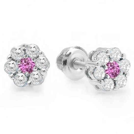 Dazzling Rock Dazzlingrock Collection 18K Round Cut White Diamond & Pink Sapphire Ladies Cluster Flower Stud Earrings, White Gold | Joma Shop