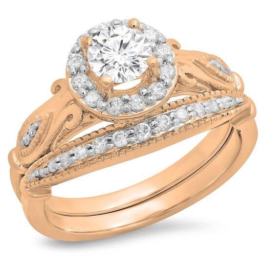Dazzling Rock Dazzlingrock Collection 18K Round White Cubic Zirconia Bridal Halo Engagement Ring Set, Rose Gold, Size 6   Joma Shop