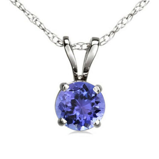 Dazzling Rock Dazzlingrock Collection 6 mm Round Cut Tanzanite Ladies Solitaire Pendant (Silver Chain Included), Sterling Silver   Joma Shop