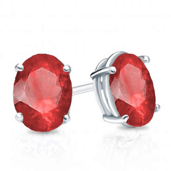 Dazzling Rock Dazzlingrock Collection 6x4 mm each Oval Cut Ruby Ladies Solitaire Stud Earrings, Sterling Silver | Joma Shop