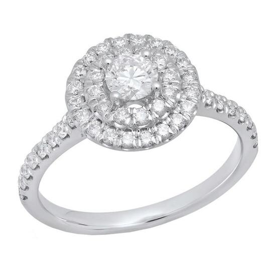 Dazzling Rock Dazzlingrock Collection IGI Certified 0.70 Carat (Ctw) 14K Round Diamond Ladies Bridal Halo Engagement Ring, White Gold   Joma Shop
