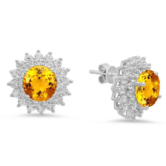 Dazzling Rock Dazzlingrock Collection Round Cut Citrine & White Sapphire Ladies Halo Style Fashion Stud Earrings, Sterling Silver   Joma Shop