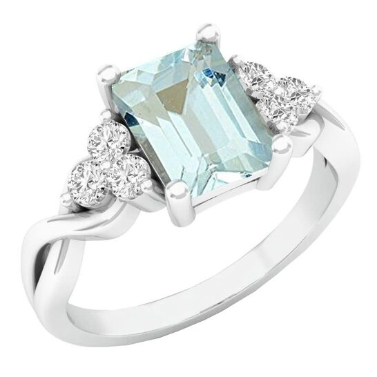Dazzling Rock Dazzlingrock Collection Sterling Silver 8X6 MM Emerald Cut Aquamarine & Round White Sapphire Engagement Ring, Size 6   Joma Shop