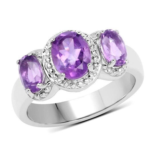 Dazzling Rock Dazzlingrock Collection Sterling Silver Oval Cut Amethyst Ladies 3 Stone Halo Style Bridal Engagement Ring, Size 8 | Joma Shop