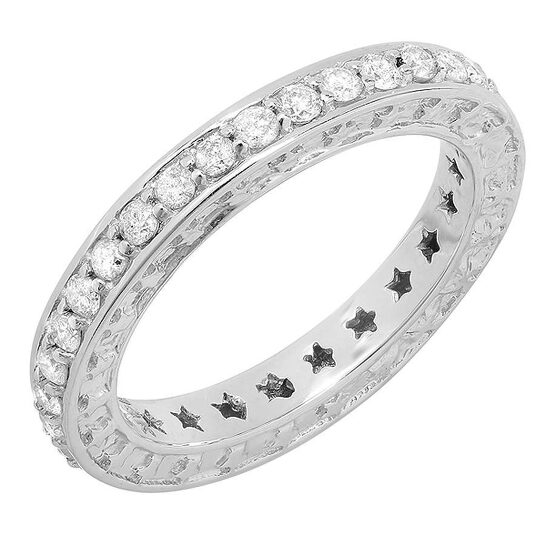 Dazzling Rock Dazzlingrock Collection 0.50 Carat (ctw) 14k Round Diamond Ladies Anniversary Star Eternity Band Stackable Ring 1/2 CT, White Gold, Size 7   Joma Shop