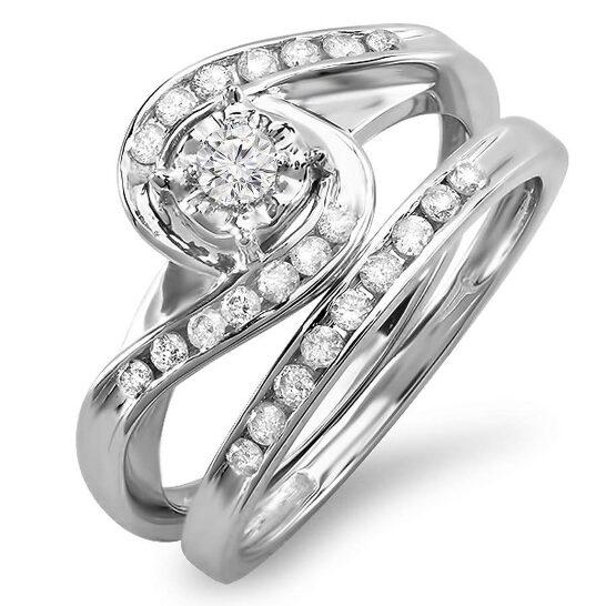 Dazzling Rock Dazzlingrock Collection 0.55 Carat (ctw) 10k Round Diamond Ladies Swirl Bypass Bridal Ring Engagement Matching Band Set 1/2 CT, White Gold, Size 7 | Joma Shop