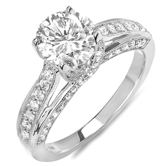 Dazzling Rock Dazzlingrock Collection 0.65 Carat (ctw) 14k Round Diamond Ladies Solitaire with Accents Bridal Engagement Ring (No Center Stone), White Gold, Size 7   Joma Shop