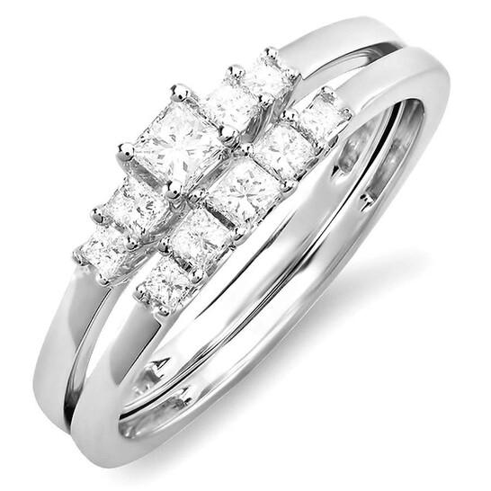 Dazzling Rock Dazzlingrock Collection 0.45 Carat (ctw) 14k Princess 5 Stone Diamond Ladies Bridal Engagement Ring Set Matching Band 1/2 CT, White Gold, Size 7   Joma Shop