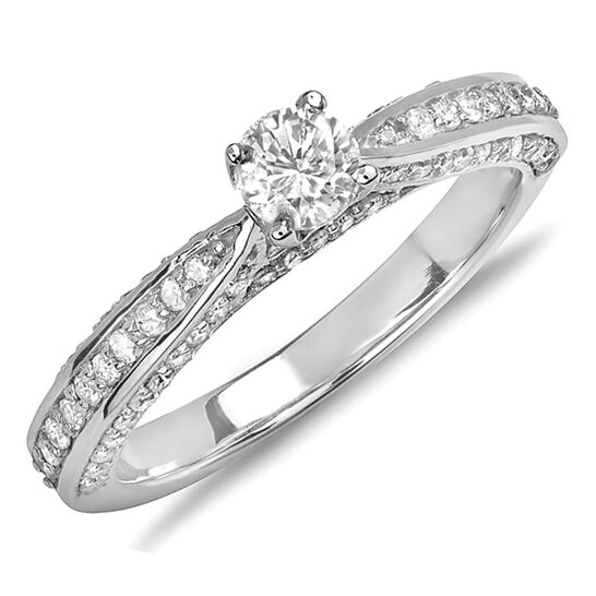 Dazzling Rock Dazzlingrock Collection 0.75 Carat (ctw) 14k Round Diamond Ladies Solitaire with Accents Bridal Engagement Ring 3/4 CT, White Gold, Size 5 | Joma Shop