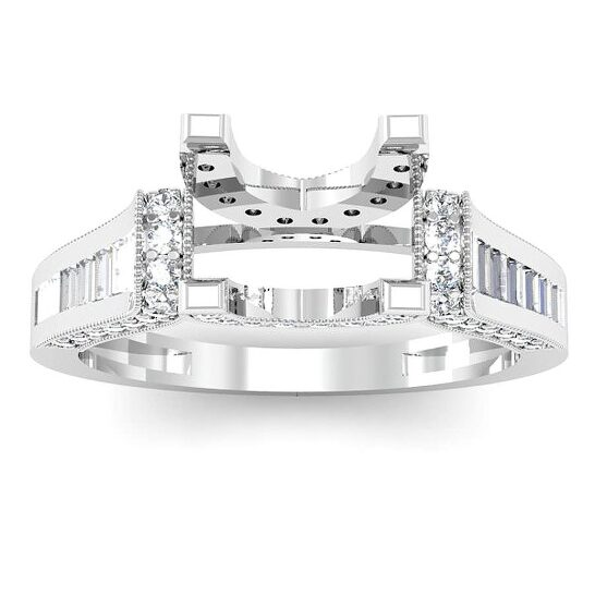 Dazzling Rock Dazzlingrock Collection 1.00 Carat (Ctw) 14k Round & Baguette Diamond Ladies Bridal Semi Mount Ring (No Center Stone), White Gold, Size 7 | Joma Shop