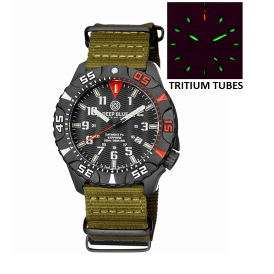 Deep Blue Daynight Tritium Pc Quartz Diver Black Dial Unisex Watch DAYNIGHTPC2REDOLIVE | Joma Shop