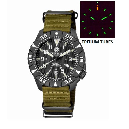 Deep Blue Daynight Tritium Pc Quartz Diver Black Dial Unisex Watch DAYNIGHTPC2WHITEOLIVE   Joma Shop