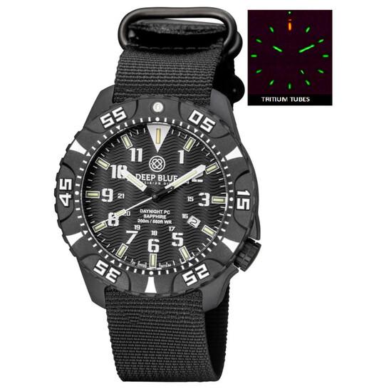 Deep Blue Daynight Tritium Pc Quartz Diver Black Dial Unisex Watch DAYNIGHTPC2WHITEZULU | Joma Shop