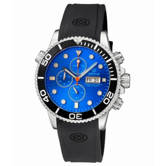 Deep Blue Master 1000 Quartz Chronograph Diver Blue Dial Unisex Watch MASTER1KCHRONOBLKBEZLITEBLUE   Joma Shop