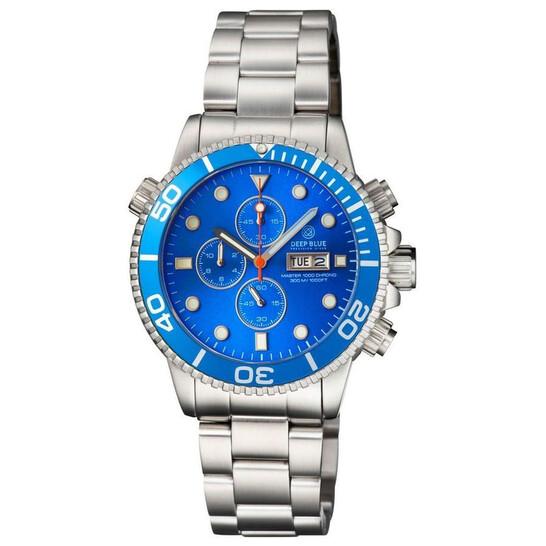 Deep Blue Master 1000 Quartz Chronograph Diver Blue Dial Unisex Watch MASTER1KCHRONOLTBLUELTBLUEBRACEL | Joma Shop