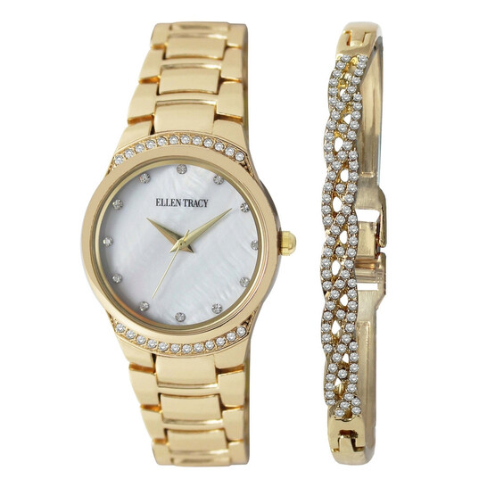 Ellen Tracy Mother of Pearl Dial Ladies Watch & Jewelry Set ETB8112GD   Joma Shop