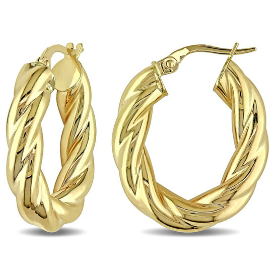 Amour Entwined Hoop Earrings in 10k Polished Yellow Gold JMS004694 | Joma Shop
