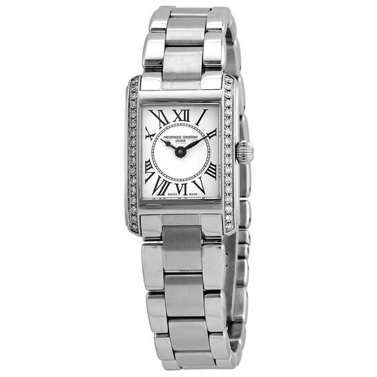 Frederique Constant Classics Carree Quartz Diamond White Dial Ladies Watch FC-200MCD16B   Joma Shop