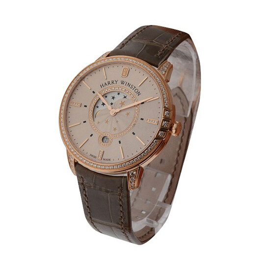 Harry Winston Midnight Champagne Rose Dial Men's Watch MIDQMP39RR002   Joma Shop