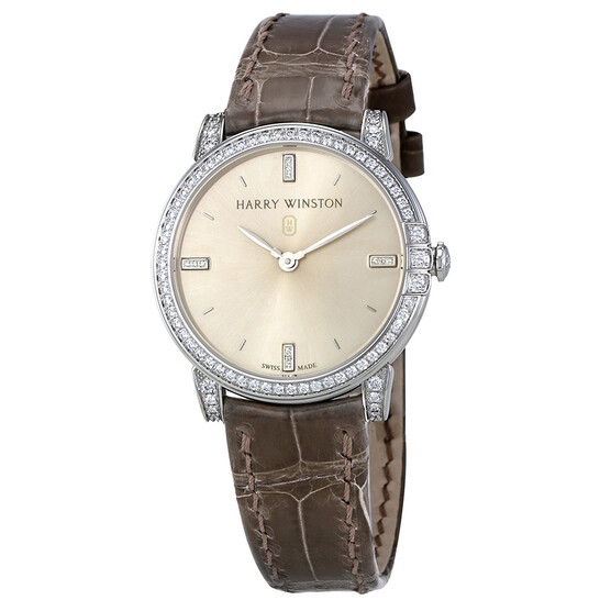 Harry Winston Midnight Silver Dial 18kt White Gold Diamond Satin Ladies Watch MIDQHM32WW002   Joma Shop
