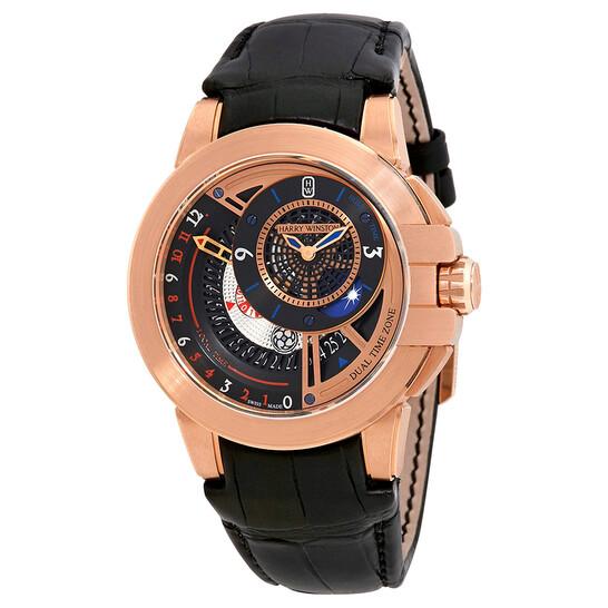 Harry Winston Ocean Dual Time Black Dial Automatic Men's Watch OCEATZ44RR011   Joma Shop