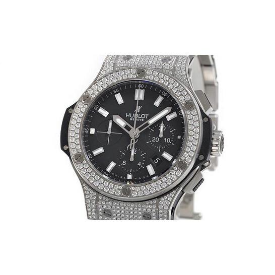 Hublot Big Bang Black Dial Chronograph Stainless Steel Diamond Pave Men's Watch 301SX1170SX2704 | Joma Shop