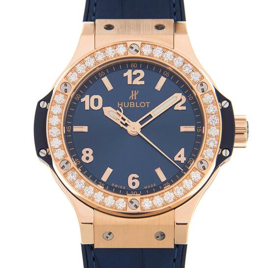 Hublot Big Bang Gold Blue Chronograph Automatic Diamond Ladies Watch 361.PX.7180.LR.1204   Joma Shop